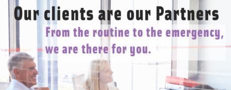 Banner Statement - Our clients are our PArtners - From the Routine to the emergency, we are there for you